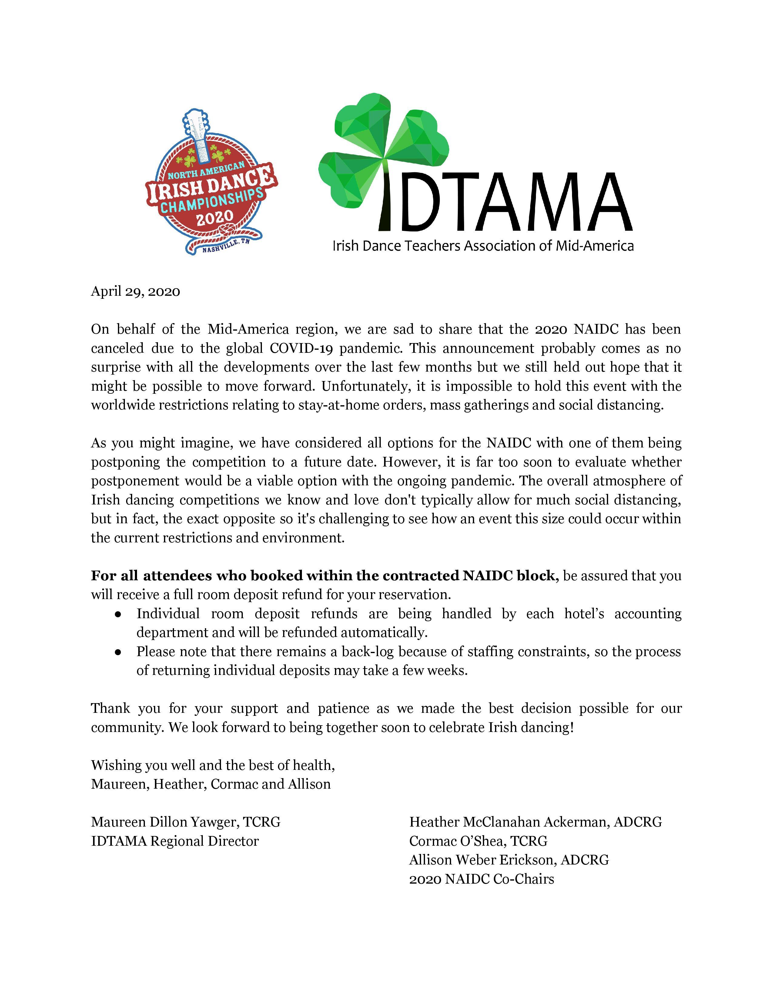 2020 NAIDC Cancellation